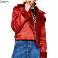 LXUNYI Autumn Winter Jacket Woman Coat Europe And America Fur Coats Women Thick Warm Short Slim