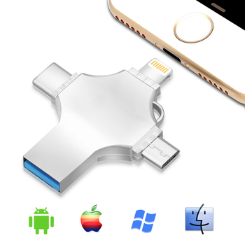 Bru Usb Otg Pen Drive Pendrive Usb Flash Drive 3.0 4in116g32g64g128g256gb Para Iphone 11 Pro Xs X Android Tipo-c Logotipo personalizado 1