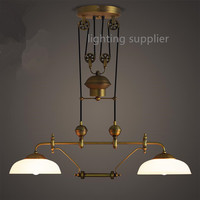 2 heads Romantic industrial style Retro nostalgia creative personality bronze color restaurant can Lifting droplight