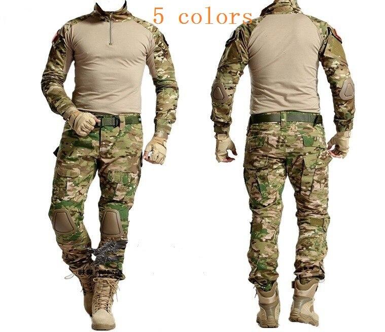 Sets/garnituren Tactical Jagd Kleidung Military Bdu Uniform Kleidung Armee Tactical Hemd Jacke Hosen Mit Knieschützer Camouflage Kryptek Schwarz Mit Traditionellen Methoden