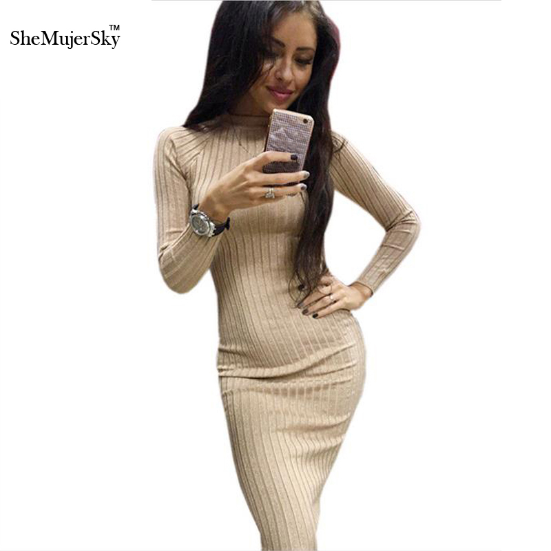 Shemujersky Fashion Women Autumn Dress Bodycon knitted Hip package Sexy Dresses for Women Midi office Dress Vestidos