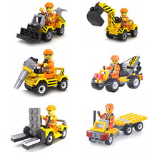 Single Sale Diy Construction Figure Crane Trailer Car Model Building Blocks Brick Enlighten Toys For children(China)