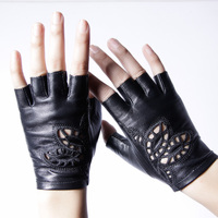 Genuine Leather Gloves Female Semi Finger Sunscreen Motorcycle Half Finger Gloves Women Short Design Spring And
