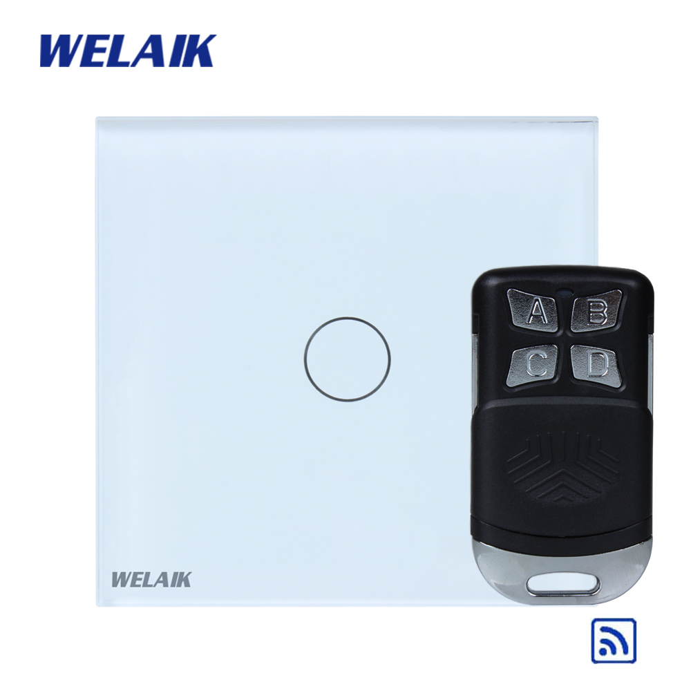 WELAIK Glass Panel Switch White Wall Switch EU remote control Touch Switch  Light Switch 1gang1way AC110~250V A1913CW/BR01 welaik crystal glass panel switch white wall switch eu remote control touch switch light switch 1gang2way ac110 250v a1914w b