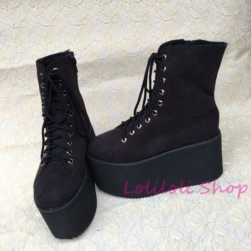 Punk shoes Big shoes / special custom shoes Black Suede thick high lacing shoes custom 1381-2 platform punk shoes big shoes special custom shoes black and white thick bottom tie bright leather heels platform customized 1304 2