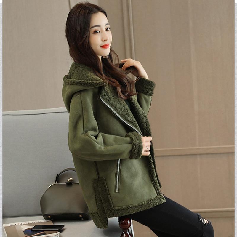 CJDNXI Women Spring Winter Wool Hooded Coat Deerskin Cashmere Lambswool Coats Lady Short Jackets Manteau Femme Hiver Grey Brown