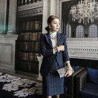 2018 النساء مخطط مكتب سيدة اللباس الدعاوى 2 قطعتين مجموعات أنيقة حقق السترة + الأزياء غمد فساتين أنثى