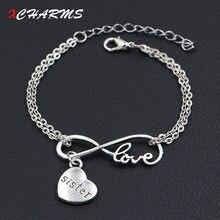 2cc79edd5 Liefde Mijn Zus Bedels Armbanden Antiek Zilver DIY Handgemaakte Dubbele  Infinity Liefde Bedels Armbanden Vrouwen Mode-sieraden