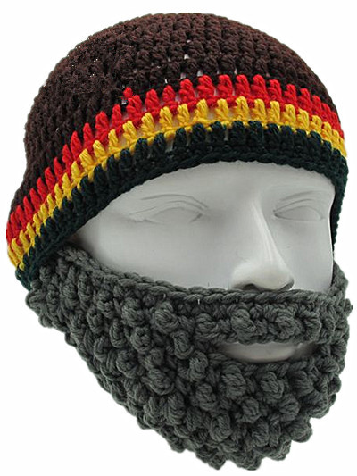 Cool Men's Beard Hat Winter Crocheted Handmade Christmas Present Party Skull Beanies