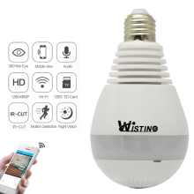 CCTV 960P Bulb LED Light Wifi IP Camera Fisheye VR Panoramic 360 degree Wi-fi  Security 1.3MP Home Monitor V380