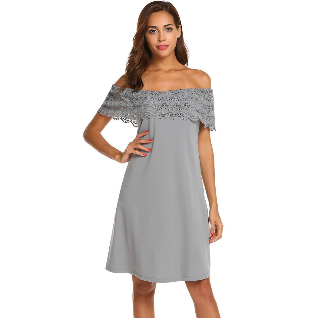 AL'OFA Women Off Shoulder   Cocktail     Dresses   Sexy Party Gown Crochet Lace Patchwork Swing Summer Vestido   Cocktail   Proms