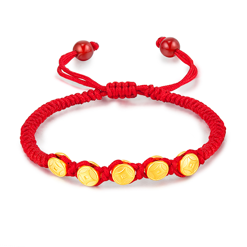 Pure 24K 999 Yellow 3D Gold Bracelet Five Coin Red Black Rope Weaving Knitted Beads 16-17cmL About 1g For Women Men 2019 NewPure 24K 999 Yellow 3D Gold Bracelet Five Coin Red Black Rope Weaving Knitted Beads 16-17cmL About 1g For Women Men 2019 New