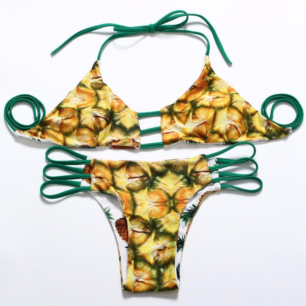 Trangel, новинка, бразильский двусторонний купальник, бикини, сексуальный женский купальник, ананас, серия, с принтом, бикини, Холтер, купальник... 17