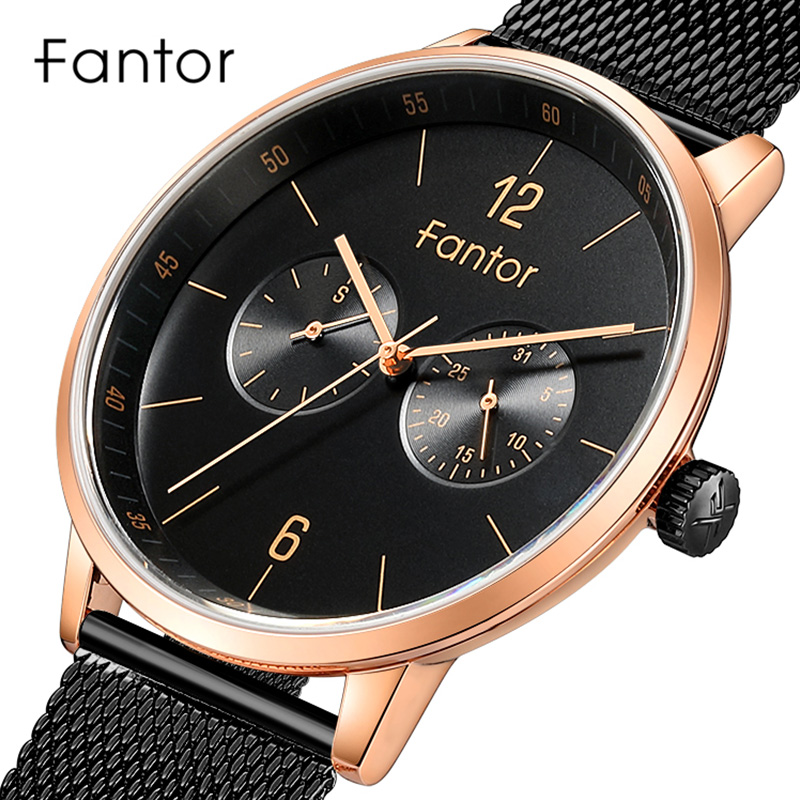 Fantor Brand Business Men's Mesh Band Watches 2019 Luxury Waterproof Chronograph Quartz Watch Casual Dress Wristwatch for Men
