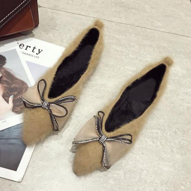 Mode Taille Pointe A565 Appartements De Chaussures Plus Chaud La noir Apricot D'hiver Femmes Fourrure Plat 0RCpq4xRw
