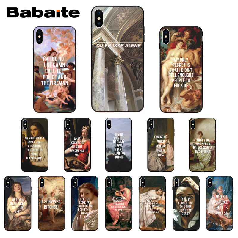 Cellphones & Telecommunications Phone Bags & Cases Trustful Babaite Artistic Oil Painting English Short Sentence Novelty Fundas Phone Case For Iphone 8 7 6 6s Plus X Xs Xr Xsmax 5 5s Se 5c Curing Cough And Facilitating Expectoration And Relieving Hoarseness