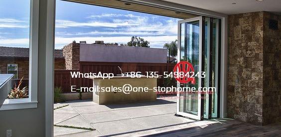 À deux volets cintrée japonaise utilisé extérieur portes pliantes en aluminium de salon en verre de howmet avec le cadre, double porte de pli en verre insonorisée
