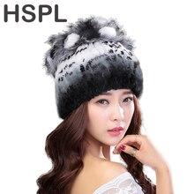 Hspl зимние шапки для женщин 100% натуральный с мехом кролика Зимние шапки для леди модные меховые шапки теплые шапочки леди Головные уборы Bone