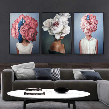 Flowers Feathers Woman Abstract Canvas Painting Wall Art Print Poster Picture Decorative Painting Living Room Home Decoration 4