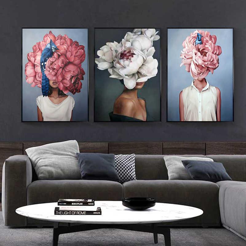 Hoa Lông Phụ Nữ Trừu Tượng Tranh Canvas Nghệ Thuật Treo Tường In Poster Hình Tranh Trang Trí Phòng Khách Trang Trí Nhà Cửa