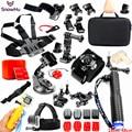 Esportes de ação da câmera gopro acessórios kit para gopro hero 5 5S 3 3 + 4 GS25 SJ5000 Impermeável Câmera de Vídeo com Estojo de transporte