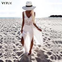 Women Summer Dress Chiffon Beach Dress Pareos Handmade Crochet Hollow Out V Neck Dress Sexy Sundress Split Boho Maxi Dress