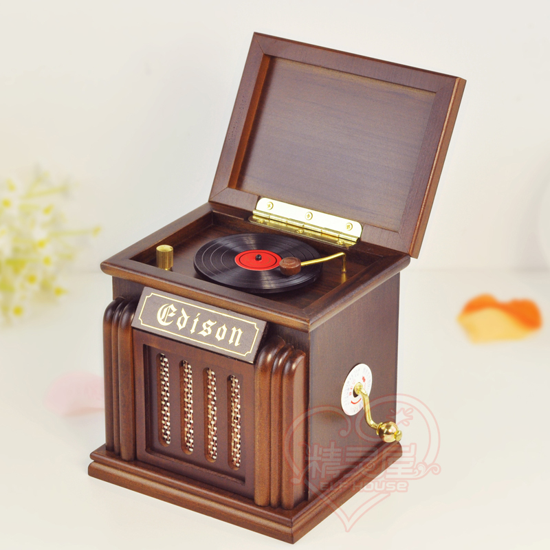 wooden gramophone cd player music box birthday gift creative gift in music boxes from. Black Bedroom Furniture Sets. Home Design Ideas