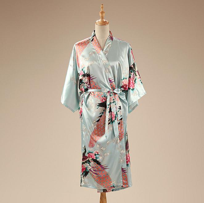 Light Blue  Satin Women's Robe Chinese Style Nightgown Print Kimono Yukata Bath Gown Flower Sleepwear Bathrobe BR120
