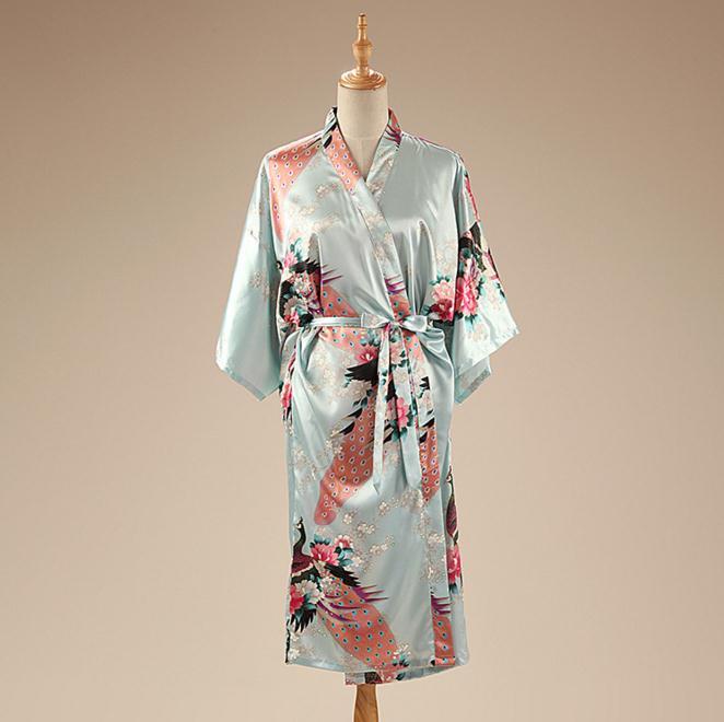 Light Blue Satin Womens Robe Chinese Style Nightgown Print Kimono Yukata Bath Gown Flower Sleepwear Bathrobe BR120