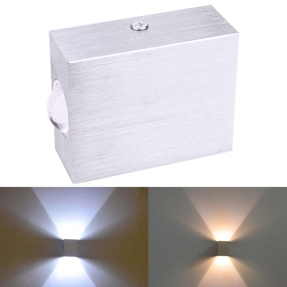 2 W Conduziu A L Mpada De Parede Quadrado Levou Spot Light Aluminm  -> Spot De Parede Para Sala