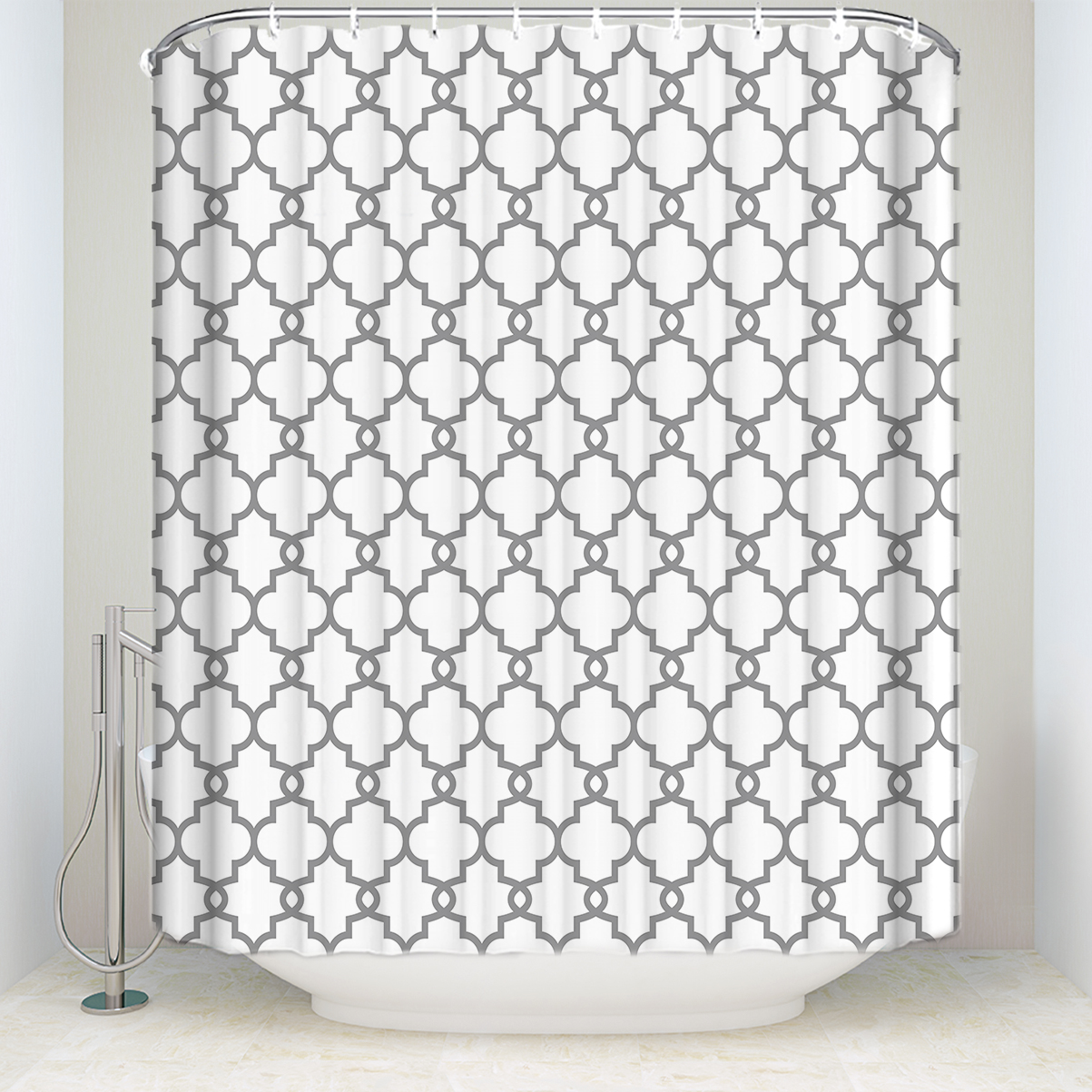 New Waterproof Moroccan Style Geometric Pattern Shower Curtain Polyester Fabric Gray White Bathroom Curtains For Home Decor Shower Curtains Aliexpress