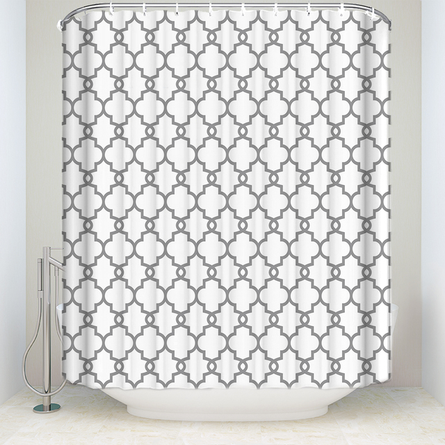 New Waterproof Moroccan Style Geometric Pattern Shower Curtain Polyester Fabric Gray White Bathroom Curtains For Home