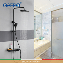 цена на GAPPO shower Faucets 3 function shower faucet mixer brass and stainless steel rainfall shower set mixer tap black faucet mixer