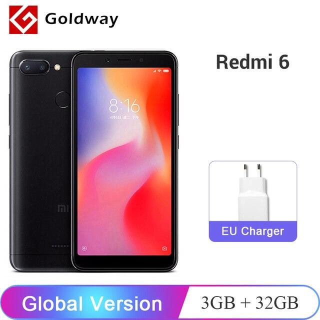 """הגלובלי גרסת Xiaomi Redmi 6 3 GB זיכרון RAM 32 GB ROM נייד טלפון Helio P22 אוקטה Core 12MP + 5MP מצלמה כפולה 5.45 """"18:9 מסך מלא"""