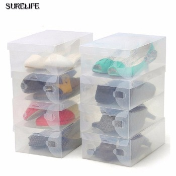 12pcs children/women/men Transparent Makeup Organizer Clear Plastic Shoes Storage Boxes Foldable Shoes Case Holder