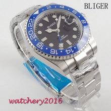 New 40mm Bliger Black Dial blue ceramic bezel Analog Sapphire Glass GMT Automaic Movement Mens Mechanical Wristwatches