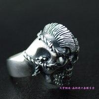 Тайский серебряный череп кольцо мизинец