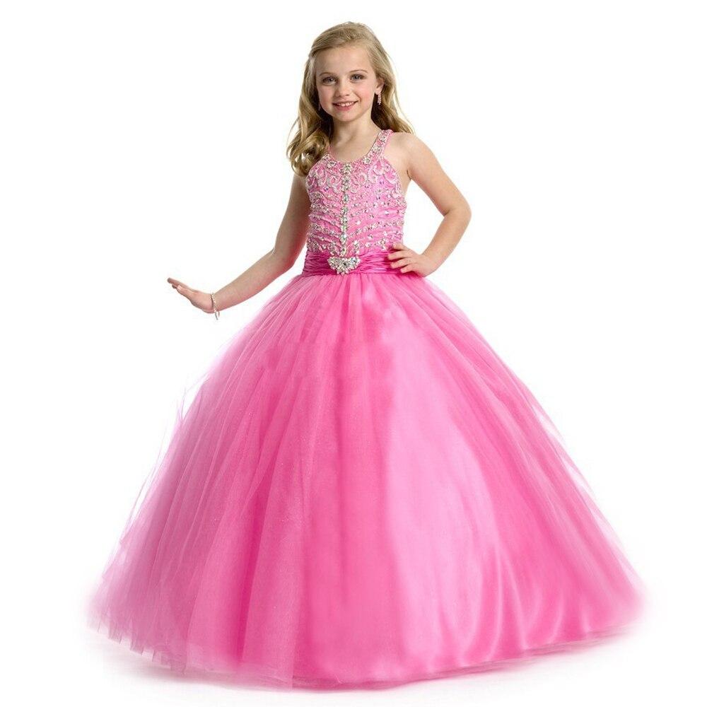 Gorgeous Flower Girl Dress Halter Beading Glitz Pink Flower Girl Dresses Kids Pageant Organza Pageant Ball Gowns 2-12 Year 2017 hot sale halter beading sequins short homecoming dress