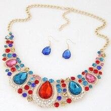 party fashion luxury shining water drop Crystal Moon shaped collar choker Necklace Earring Jewelry Set Wedding Jewelry Women