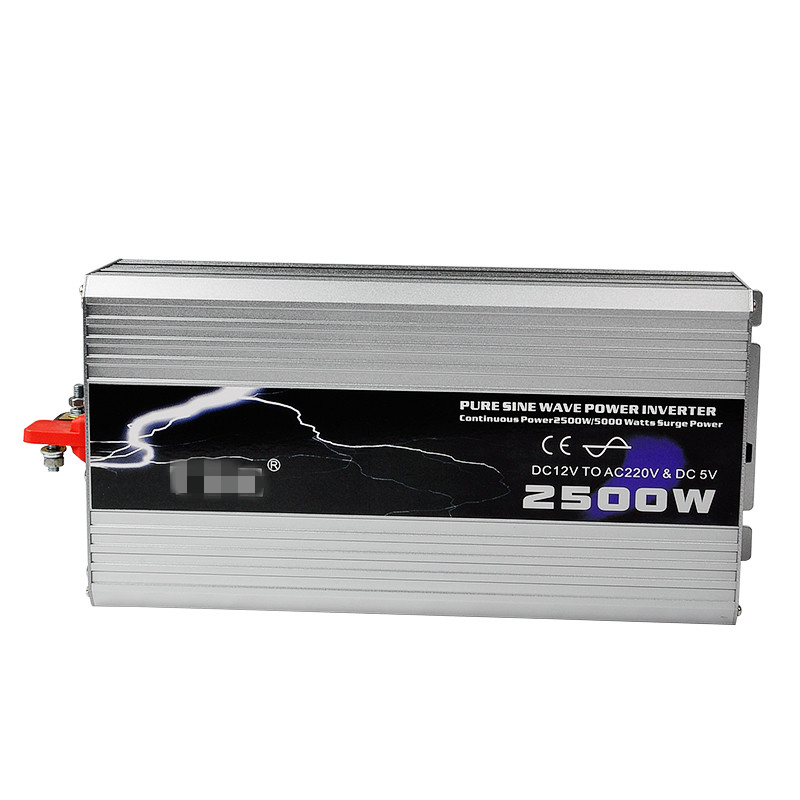 2500W Car Power Inverter Pure Sine Wave DC 12V to AC 220V Solar Inverter Car Charger Converter Peak Power 5000W
