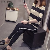 Plus Size 4XL Summer Elegant Women Casual 2 Pieces Pants Suits Knitted Striped Tops Elastic Trousers Knitting Twin Sets Outfit