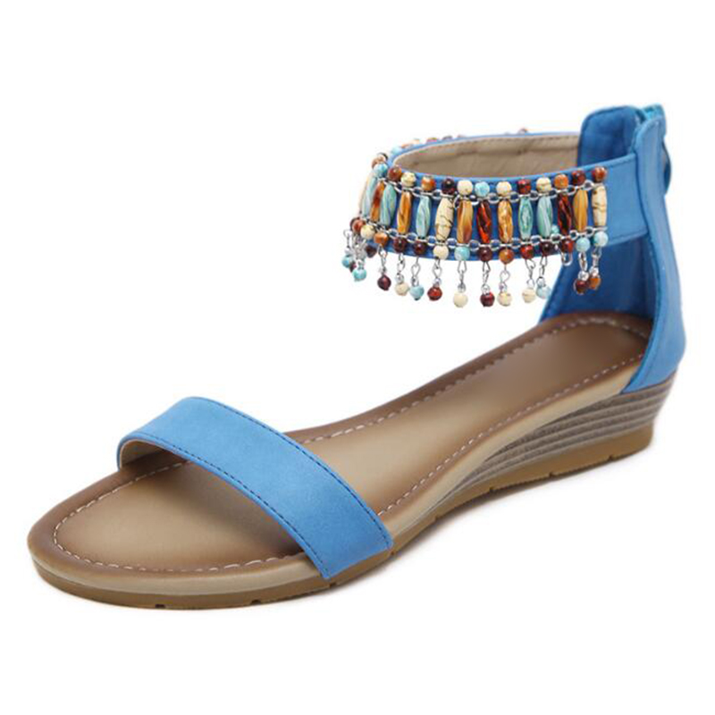 e05cf05ff8a THEAGRANT 2018 Bohemian Beaded Women Sandals Ankle Cuff Low Wedges Casual  Beach Soft Pu Leather Lady Shoes Plus Size WSS3016-in Low Heels from Shoes  on ...