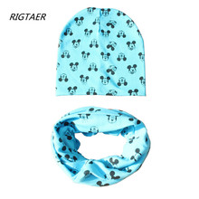 2017 Brand Baby Hat Cartoon Printing Cap Scarf Cotton Knit autumn Winter Baby Caps scarves set beanies kids photography props