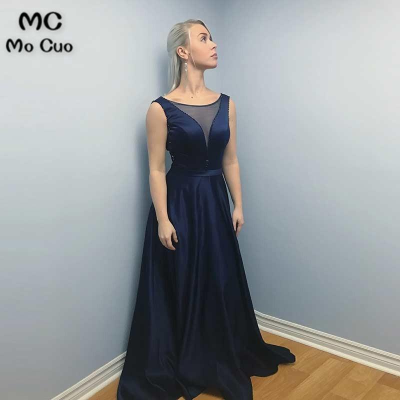 Dark Blue 2019 In Stock   Evening     Dresses   Long Deep V-Neck Beaded Lace Up Women's   Evening     Dress   Satin Prom   Dress   Custom Made
