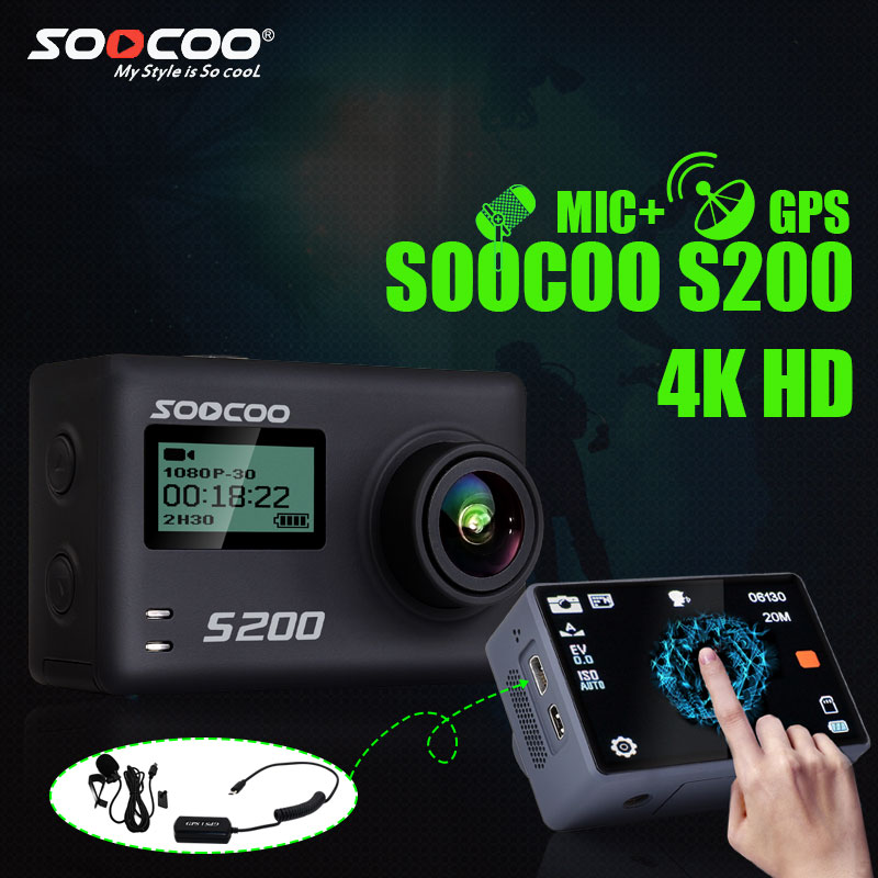 SOOCOO S200 Camera Action Ultra HD 4 K NTK96660 + IMX078 avec WiFi Gryo Voix contrôle externe mic GPS 2.45 tactile lcd écran