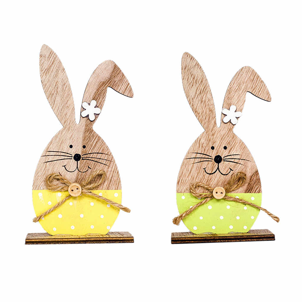 2019 New Fashion Easter Decorations Wood Easter Cute Rabbit 2 Types With Easter Egg Ribbon Stand Decoration Diy Ornament Zakka