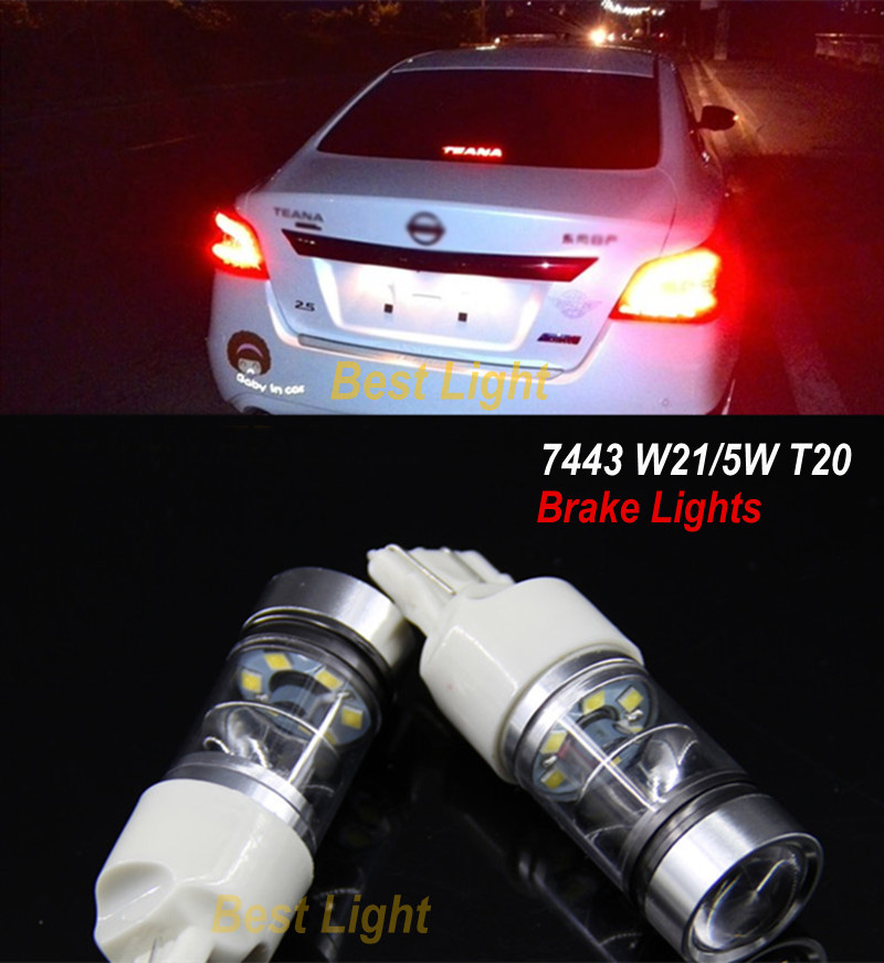 2x T20 7443 SHARP Chips LED STOP/TAIL bulbs Brake Lights For Nissan Teana Bluebird Sunny Sylphy X-Trail Quest Geniss New Tiida