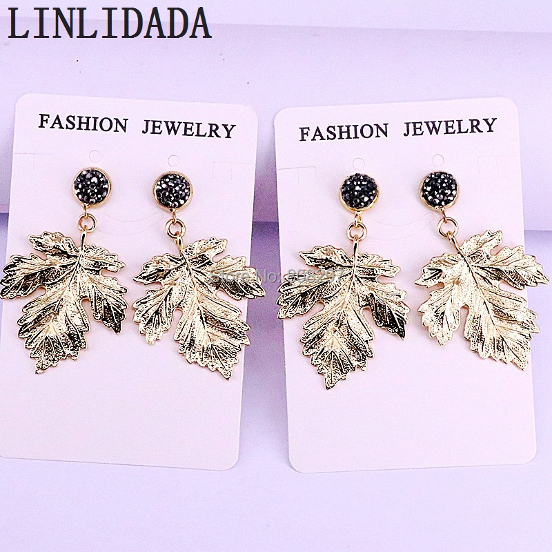 10Pair Gold Color Metal Maple Leaf Jewelry Drop Dangle Earrings for Women Fashion Jewelry Gifts