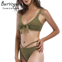 Burvogue Sexy Bikini Set Women Swimsuit New Summer Monokini Swimwear Cross Bandage Halter Bathing Suits Push