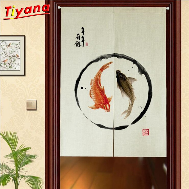 Joyous Doorway Curtain 85X120 Decorative Chinese Style Screen Floral Door Curtain Fish Hallway Kitchen Rideaux DL-HM385B *NT